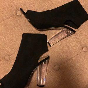 Steve Madden 7.5 clear heels, mesh fabric